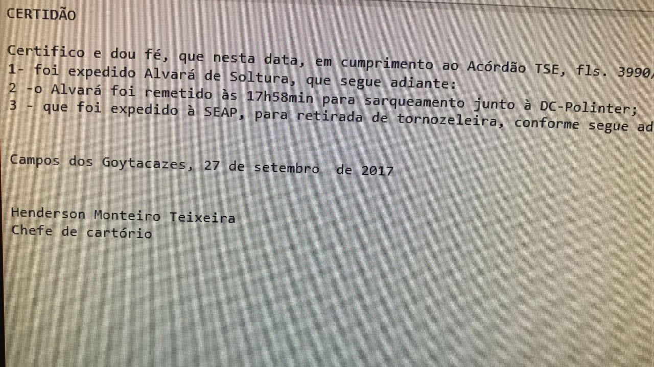Política: TSE cancela prisão domiciliar do ex-governador Anthony Garotinho
